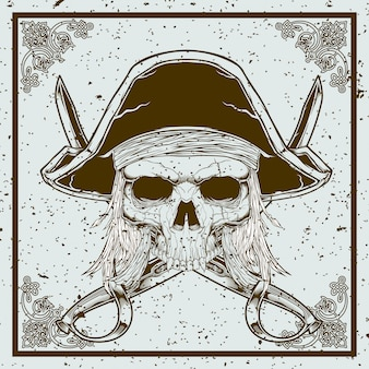 Grunge style pirate skull and sword crossed illustration