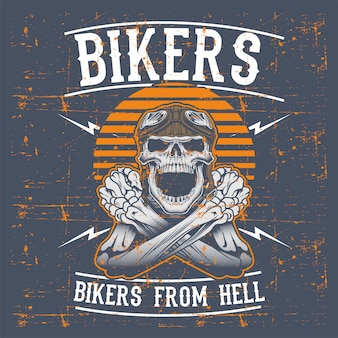 Grunge style skull bikers wearing retro helmet hand drawing