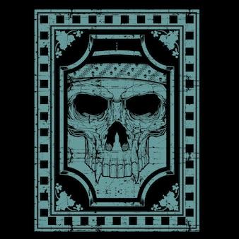 Grunge style skull hand drawing