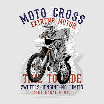 Grunge style skull motor cross