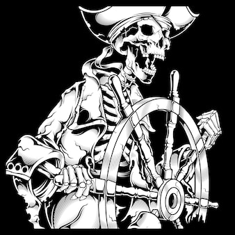 Grunge style skull pirate retro,vintage,detail hand drawing