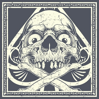 Grunge style skull with crossbones.