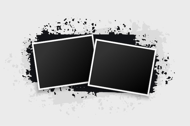Grunge style two photo frames
