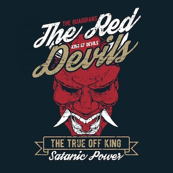 Grunge style vintage the red devil hand drawing