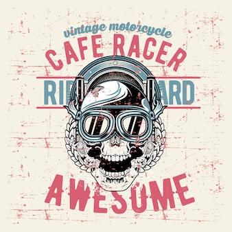 Grunge style vintage skull cafe racer hand drawing
