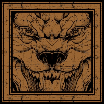Grunge style wolf hand drawing ,isolated