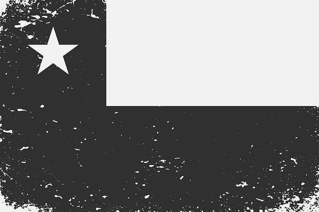 Гранж стиле черно-белый флаг чили
