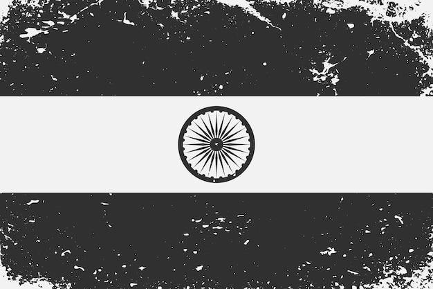 グランジスタイルの黒と白の旗インド