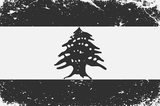 グランジスタイルの黒と白の旗レバノン