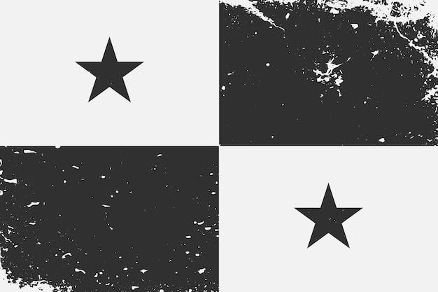 グランジスタイルの黒と白の旗パナマ