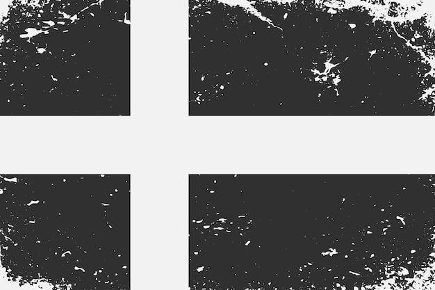 グランジスタイルの黒と白の旗スウェーデン
