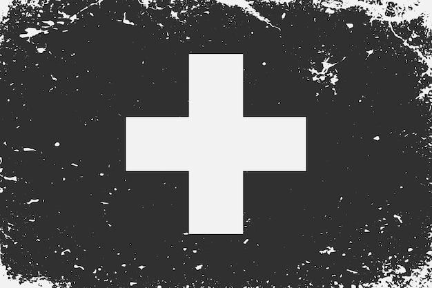 グランジスタイルの黒と白の旗スイス