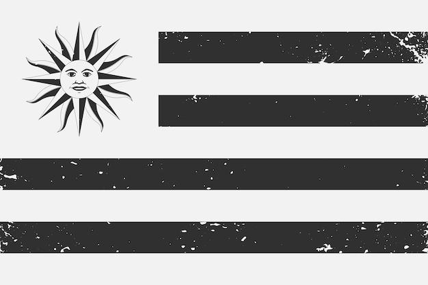Гранж стиле черно-белый флаг уругвая