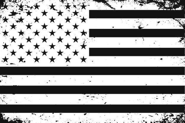 グランジスタイルの黒と白の米国旗
