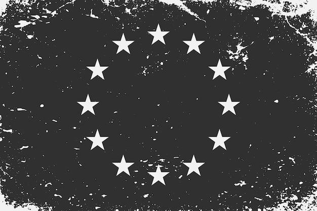 Grunge styled black and white flag european union