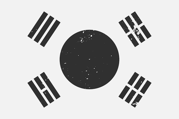 Grunge styled black and white flag south korea