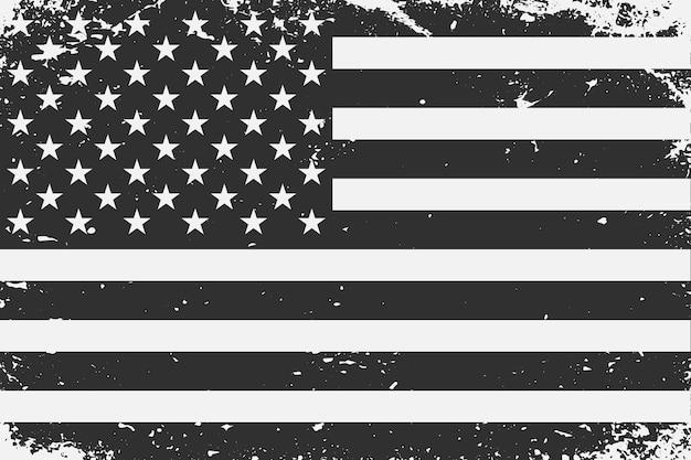 Grunge styled black and white united states flag
