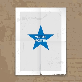 Grunge tattered folded poster template with crease lines and a central star hanging on a wall
