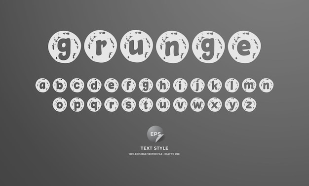 Grunge text style with alphabet