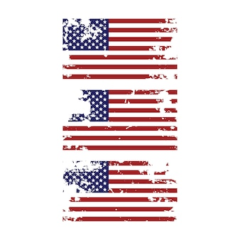 Grunge and torn united states american flag set