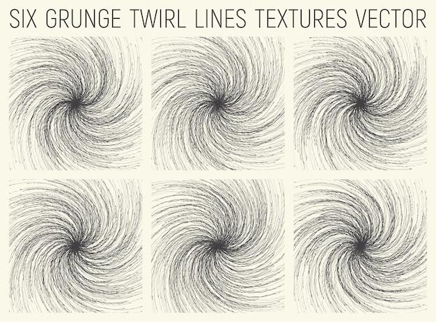 Grunge twirl lines textures set