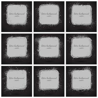 Grunge vector retro backgrounds set