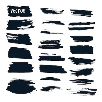 Grunge vector set with ink brushes. Abstract design elements collection. Hand drawn collection.