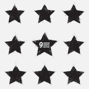 Grunge vector stars vector set