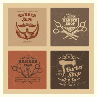 Grunge vintage barber shop labels