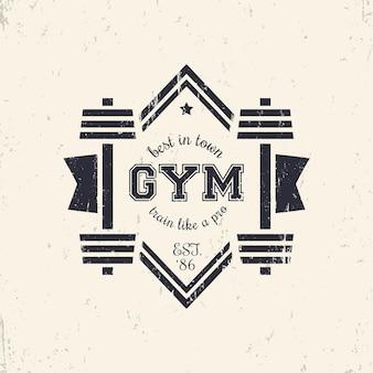 Grunge vintage gym logo, logotype with barbells, vector illustration