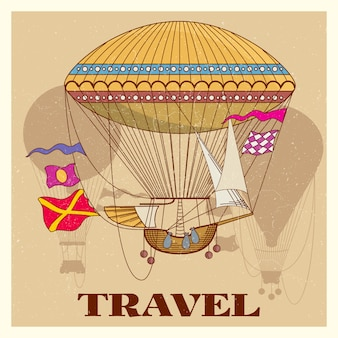 Grunge vintage poster with retro air hot balloon