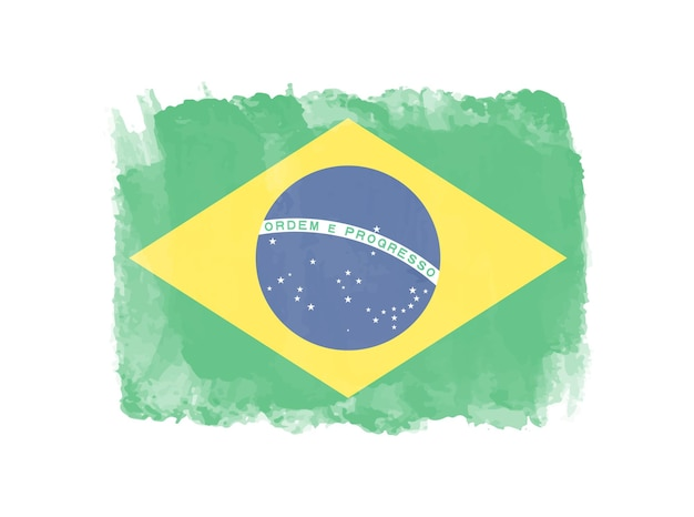 Grunge watercolor flag of brazil