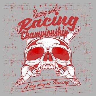 Иллюстрация чемпиона гонок черепа и свечи зажигания стиля grunge винтажная