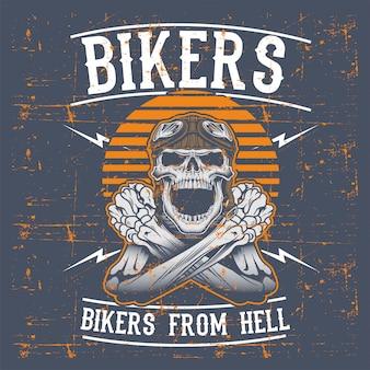 Велосипедисты черепа стиля grunge нося ретро чертеж руки шлема