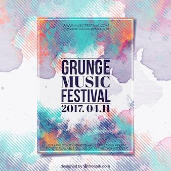 Grunge плакат музыкальный фестиваль