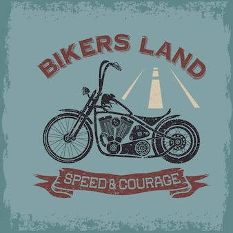 Grungeintage poster bikers land with motorbike