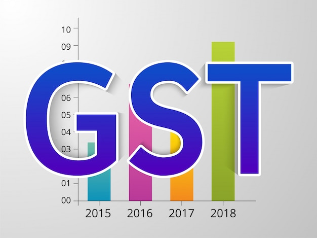 Gst text on graph vector illustration