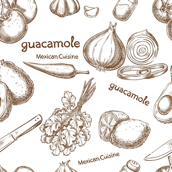 Guacamole, ingredients of the food seamless
