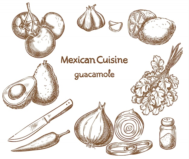 Guacamole, ingredients of the food
