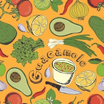Guacamole seamless pattern