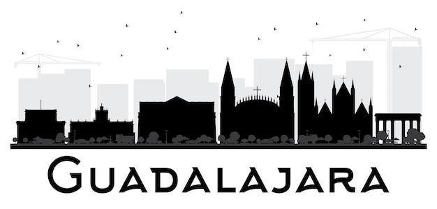 Guadalajara city skyline black and white silhouette. vector illustration. simple flat concept for tourism presentation, banner, placard or web site. cityscape with landmarks.