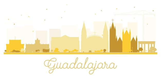 Guadalajara city skyline golden silhouette. vector illustration. simple flat concept for tourism presentation, banner, placard or web site. cityscape with landmarks.