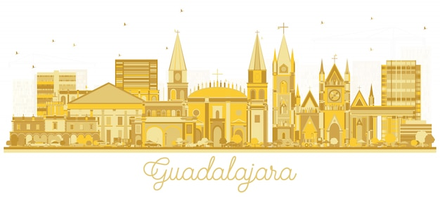 Guadalajara mexico city skyline silhouette with golden buildings isolated on white.