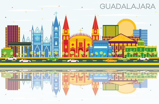 Guadalajara mexico skyline with color buildings, blue sky and reflections. vector illustration. business travel and tourism concept with historic architecture. guadalajara cityscape with landmarks.