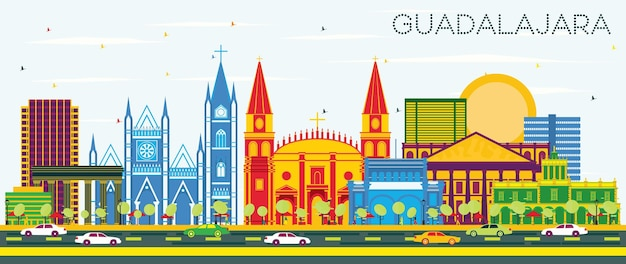Guadalajara mexico skyline with color buildings and blue sky. vector illustration. business travel and tourism concept with historic architecture. guadalajara cityscape with landmarks.
