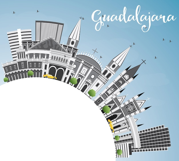 Guadalajara skyline with gray buildings, blue sky and copy space. vector illustration. business travel and tourism concept with historic architecture. image for presentation banner placard and web.