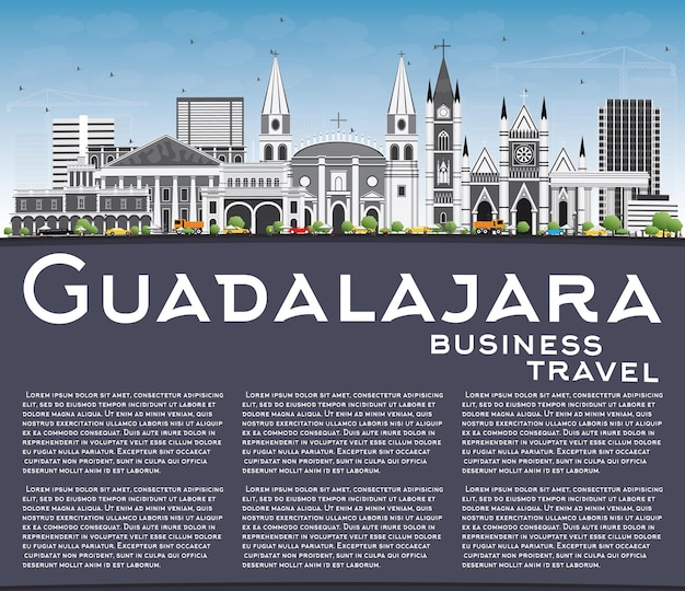 Guadalajara skyline with gray buildings blue sky and copy space vector illustration
