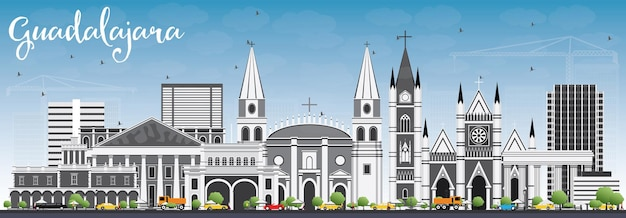 Guadalajara skyline with gray buildings and blue sky. vector illustration. business travel and tourism concept with historic architecture. image for presentation banner placard and web site.