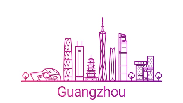 Guangzhou city colored gradient line