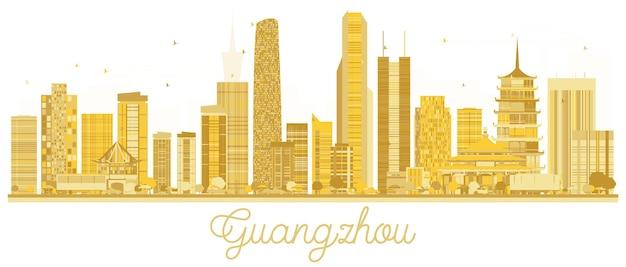 広州市のスカイラインの黄金のシルエット。ベクトルイラスト。観光プレゼンテーション、バナー、プラカードまたはwebサイトのシンプルなフラットコンセプト。出張の概念。ランドマークのある街並み。